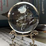HDCRYSTALGIFTS Crystal 2.4 inch (60mm) Carving Rose Crystal Ball with Sliver-Plated Flowering Stand,Fengshui Glass Ball Home