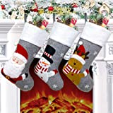 """Christmas Stocking Set of 3, 18"""" Large Xmas Stockings Decorations, Santa Snowman Reindeer Xmas Character for Family Holiday D"""