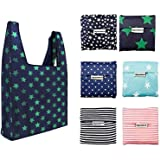 6 Pack Reusable Shopping Grocery Bags Foldable, Washable Grocery Tote with Pouch, 35LB Weight Capacity, Heavy Duty Shopping T