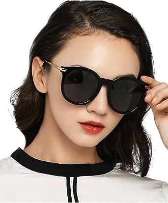 Luoyiman サングラス レディース ウェリントン 軽量 uvカット 偏光 人気 ファッションサングラス ブラック (ウェリントン)