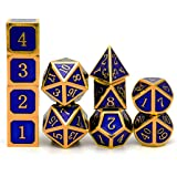 11PCS Metal DND Dice Set Polyhedral D&D Dragon Dice for Dungeons and Dragons Pathfinder TTRPG (Gold Navy Blue)