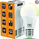 Motion Sensor Light Bulb Outdoor - Led Bulbs wiht Smart Highly Sensing Radar 360 Motion Activated Detector E26 Base Best for