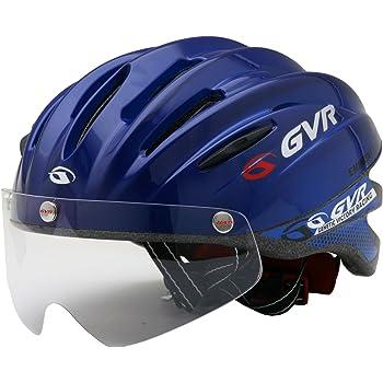 GVR G-203V サイクルヘルメット JCF推奨 03 ソリッド/ブルー 54-60cm クリアシールド付 G-203V