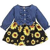 Honykids Toddler Baby Girl Sunflower Dress Denim Ruffle Floral Summer Dresses Outfits for Toddler Girls