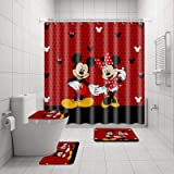 4Pcs Mic-Key Mouse Shower Curtain Sets with Non-Slip Rugs, Toilet Lid Cover and Bath Mat, Waterproof Shower Curtains with 12