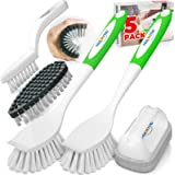 Holikme 5 Pack Kitchen Cleaning Brush Set, Kitchen Scrub Brush&Bendable Clean Brush&Groove Gap Brush&Scouring Pad for Pot and