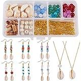 SUNNYCLUE 1 Box DIY 8 Set Cowrie Sea Shells Jewelry Making Kits Oval Ocean Beach Spiral Seashells Necklace Earring Craft Supp