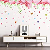RW-239 Removable DIY Romantic Warm Pink Cherry Blossom Tree and Flower Wall Decal 3D Wall Art Stickers Murals Home Decor for