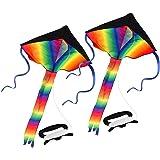 カラフルスカイカイト 三角凧 簡単に揚げられる 大人も子供にも最適!アウトドアタコ 凧糸とハンドル付き (2 PACK)