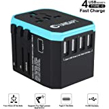 Universal USB Travel Power Adapter - UNIDAPT All in One Wall Charger International Plug Adapter for USA EU UK AUS Asia with 4