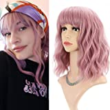 NUOFAN Pink Wig Short Curly Bob Wig with Bangs 14'' Natural Wavy Heat Resistant Hair Fiber Curly Fringe Wigs for Woman Girls