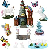 BangBangDa Unicorn Figurines Fairy Garden Accessories - Miniature Unicorn Gift Set Outdoor Garden Decoration - Fairy Figurine