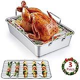Roasting Pan, E-far 14 Inch Stainless steel Turkey Roaster with Rack, Include Deep Lasagna Pan & V-shaped Rack & Roasting Rac