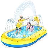 Splash Pad Sprinkler for Kids Toddlers, 3-in-1 Sprinkler Kiddie Pool for Kids Ages 1-12 & Toddlers, Dinosaur Sprinkle Play Ma