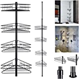 Yescom 4 Tier Bathroom Metal Corner Shelf Caddy Adjustable Telescopic Wall Rack Basket Storage Organizer Black
