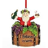 Ornativity Santa Wine Barrel Ornament - Santa On Wine Barrel Christmas Holiday Tree Decoration