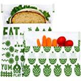 Lunchskins MP-FARM-GRN Reusable 2-Pack Set Food, Storage Bags, 1 Sandwich + 1 Snack, Green