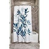 "InterDesign Leaves Soft Fabric Shower Curtain, 72"" x 72"", Navy/Slate Blue"