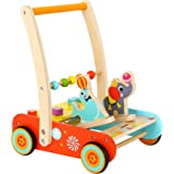 Pidoko Kids Wooden Baby Walker Cart with Wheels - Circus Theme for 1 Year Old and up