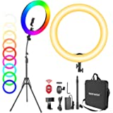 Neewer 18-inch RGB Ring Light with Stand, 42W Dimmable Bi-Color 3200K-5600K CRI 95+ LED Ring Light with 0-360 Full Color, 9 S