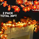 TURNMEON 2 Pack Fall Maple Leaves String Lights Thanksgiving Decorations,Total 20Ft & 40 LED Maple Leaves String Lights Batte
