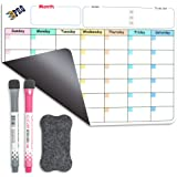 Magnetic Dry Erase Refrigerator Calendar by EPRO, Large Calendar Whiteboard Monthly Planner - 2 Fine Tip Markers and Large Er