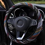Wellvo Boho Steering Wheel Cover Maya Universal Steering Wheel Cover for Women Hippie Steering Wheel Covers Coarse Flax Cloth
