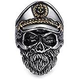 eejart Stainless Steel Skull Captain Ring for Man