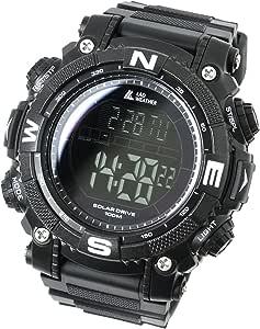 [ラドウェザー]ソーラー腕時計 メンズ時計 ミリタリーウォッチ 100m防水 サバゲ― ストップウォッチ (ブラック(反転液晶))