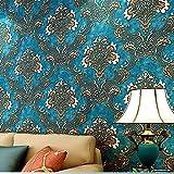 深いレリーフの3 dレンガ壁纸現代古典現代花繻子の特性を居間壁面塗料饰プロペラの壁 (青い)