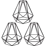 3 Pack Metal Cage Lampshade for Pendant Lights Industrial Lamp Guard, Boncoo Lighting Fixtures Replacement Lamp Shades for Ha