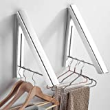 SRHOME Indoor/Outdoor Wall Mounted Folding Clothes Drying Rack- Clothes Hanger --Aluminum Folding Clothes Hanger Hanging on B