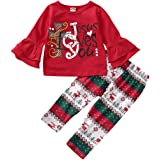 HAPPYMA Toddler Baby Girls Christmas Outfits Long Bell Sleeve with Cute Letter Shirts + Cartoon Reindeer Pants Clothes Sets 2