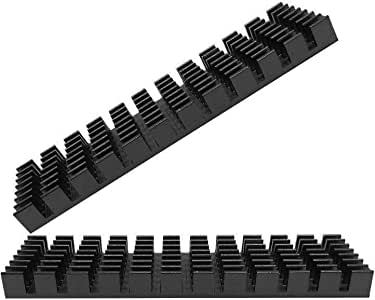 1個m.2 ssdヒートシンク 導熱接着シート付き 熱暴走対策 冷却ラジエーターフィンCPU ICチップ 回路基板 LEDアンプに適用 アルミニウム 黒 70mm×22mm×6mm (1個, 黒)