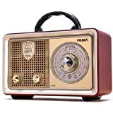 PRUNUS J-110 Retro Radio Bluetooth AM FM Portable Radio AC Battery Operated Vintage Tabletop Radio with Big Frequency Scale,
