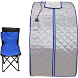 Yonntech Portable Safe Folding Far FIR Infrared Sauna Spa Tent with Heating Footpad and Chair Slimming Weight Loss +Negative
