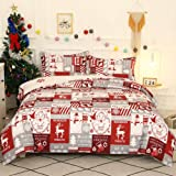 ADASMILE A & S Christmas Bedding Set Santa Claus and Reindeer Pattern Duvet Cover for Christmas New Year Holiday Snowman and