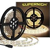 Super Bright 600pcs LEDs,SUPERNIGHT 16.4ft Warm White Waterproof LED Strip Lights,3500k Lighting for Garden/Home/Kitchen/Car/