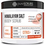 pureSCRUBS Premium Pink Himalayan Salt Body Scrub Set - Lg 16oz CITRUS SCRUB, Organic Essential Oils & Nutrients INCLUDES Woo