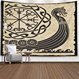Retro-Sailing-Ship Tapestry,Tapestry for Flag Day,Capsceoll 60x50Inches Tapestries Warship of the Vikings Drakkar ancient sca