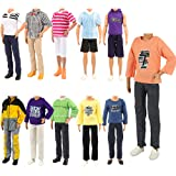 Barwa Lot 5 Sets Fashion Shirt Outfit Clothes with Trousers for 12 Inch Boy Dolls