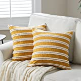Fancy Homi 2 Packs Mustard Yellow Boho Decorative Throw Pillow Covers 18x18 Inch with Striped Jacquard Pattern, Soft Cotton L