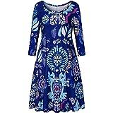 Misyula Style Womens Floral 3/4 Sleeve Round Neck Tunic Shirt Dress with Pockets