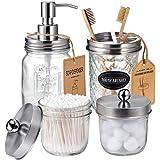 Mason Jar Bathroom Accessories Set(4 Pack) - Lotion Soap Dispenser&Qtip Holder Set&Toothbrush Holder-Rustic Farmhouse Decor A