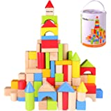 Pidoko Kids Wooden Building Blocks Set - 100 Pcs - Includes Carrying Container - Hardwood Plain & Colored Wood Block for Boys