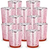 Just Artifacts Mercury Glass Votive Candle Holders 2.75H Speckled Blush (Set of 12) - Mercury Glass Votive Candle Holders for