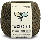 (60m x Standard Size) - 100% Organic Hemp Wick with Natural Beeswax Coating Twisted Bee (60m x Standard Size)