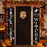 Halloween Decorations Outdoor | Trick or Treat & It's October Witches Halloween Signs for Front Door or Indoor Home Decor | P