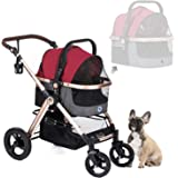 HPZ Pet Rover Prime 3-in-1 Luxury Dog/Cat/Pet Stroller (Travel Carrier +Car Seat +Stroller) w/Detach Carrier/Pump-Free Rubber