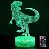 LETOUR Night Light for Kids Dinosaur 3D Night Light Porpoise Illusion Lamp with Remote Control 16 Color Changing Xmas Hallowe